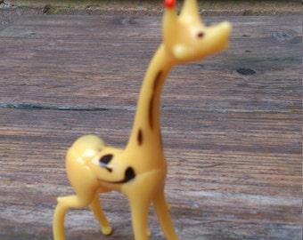 vintage yellow glass giraffe