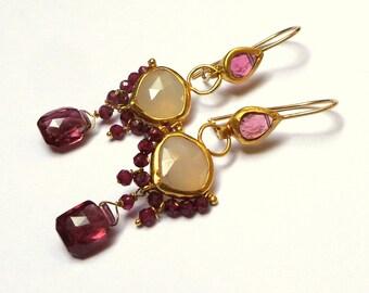 Tourmaline Earrings - Gold Earrings - 22K Gold Earrings - Chandelier Earrings - Free Shipping!!