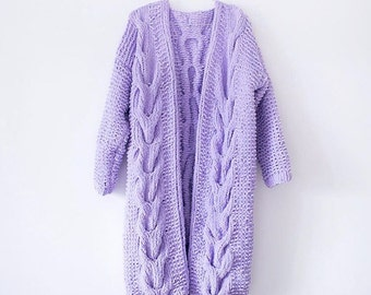 Woman's Bulky Spring Coat Jacket / Hand Knit Sweater / Purple Knitted Chunky Yarn Coat / Merino Wool Oversized Cardigan