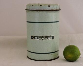 Vintage Enamel Chicorée Tin - French Enamelware - Country Decor - Kitchenalia - Old Round Tin