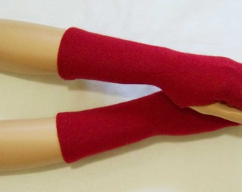 Cashmere, Winter, Arm Warmers with thumb hole and Headband, Dark Red, Very Soft, Nice and Warm.  IDEAL for HER