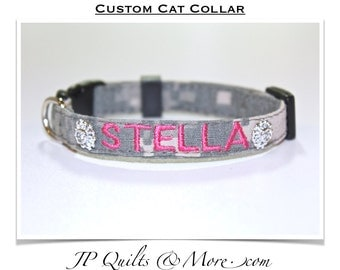 Embroidered Cat Collar in Army, Navy, Marines, Air Force & Mossy Oak