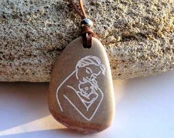 Mothers Day Gift, Natural Engraved Beach Stone Necklace Mother and child  Holy land Necklace Gift Women Jewelry Gift for her