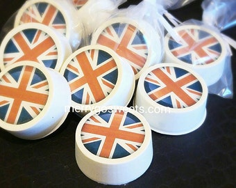 Chocolate Covered Oreos Union Jack Edible Print Gift Party Favor Wedding Shower Birthday Special Occasion union jack flag British theme