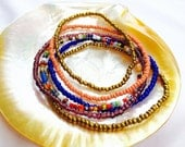 Handmade African Glass Bead Anklets Bronze Multicolored Pink-Salmon Colored Beads Ankle Jewelry Summer Beach Stretch Jewelry Accessories