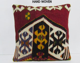 kilim pillow dynamic 18x18 floor pillow embroidered pillow case retro throw pillow vintage pillow cover body pillow cover colourful rug C403