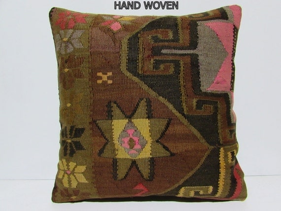 kilim pillow 24x24 extra large cushion by DECOLICKILIMPILLOWS