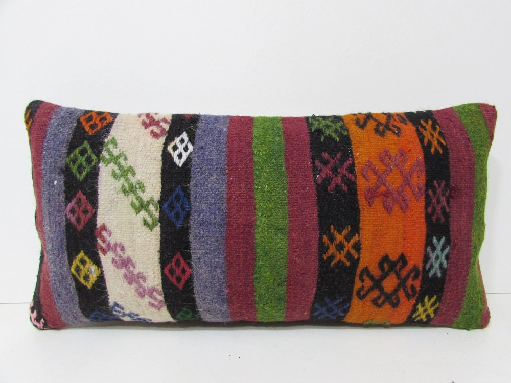 Decorative pillow long throw pillow ethnic pillow cover floor for Long throw pillows