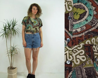80's vintage women's colorful patterned boho shirt