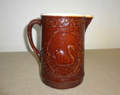 Vintage Antique Stoneware Crock Style Brown Pitcher with Swan Design FREE USA SHIPPING