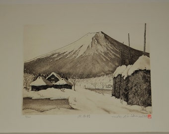 Genuine 1st Limited Edition Wood Engraved Print OSHINO IN WINTER by Norikane Hiroto