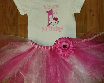 Hello Kitty first birthday tshirt and tutu