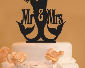 Merman and  Mermaid wedding cake topper - Mr. and Mrs. Wedding Cake Topper - Mermaid cake topper - Merman topper - silhouette topper