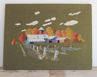 Vintage Cross Stitched Tapestry Embroidered Art // Barn Farm Country Folk Art // Home Decor