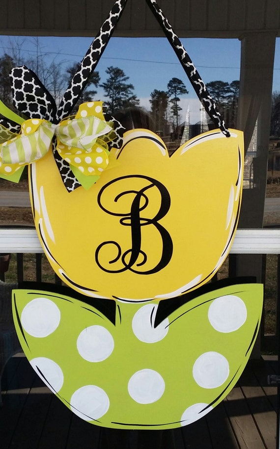 Door Decorationmonogrammed Spring Tulip Door By
