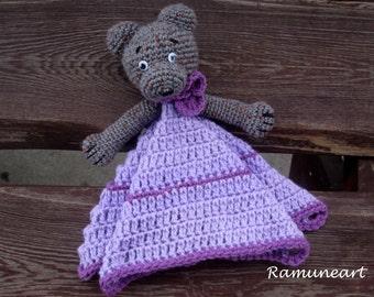 Purple/ lilac Teddy Bear /Security Blanket/ Soft Toy Doll/ Crochet Toy/ Stuffed Toy Doll/ Amigurumi Doll/ Baby Doll/ Crochet teddy bear
