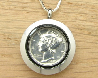 For 80th: 1937 US Dime Locket Necklace 80th Birthday Gift Coin Jewelry