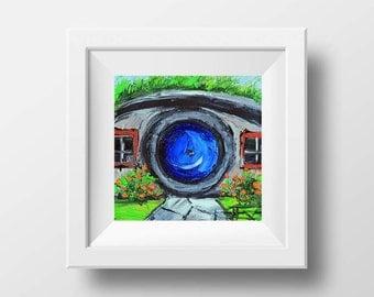 Lord of the Rings Art, Hobbit House Print, New Zealand Art, Hobbit Hole, LOTR Art, Lord of the Rings, 8x8, Hobbiton Art, The Hobbit Painting