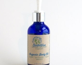 Organic Body Oil * Massage Oil * Bath Oil * Vegan * Scented With Pure Organic Essential Oils