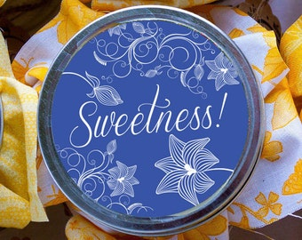 "Pretty Sweetness mason jar Labels 2"" round canning label toppers"