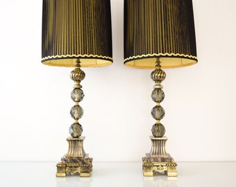 mid century table lamps, glass table lamps, stunning crystal cut glass & marble table lamps with lampshades, hollywood regency, vintage
