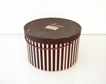 hat box, paper hat box, hat storage box, vintage pink and eggplant striped hat box, Hudson's department store, Detroit