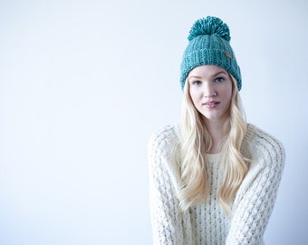 Crochet Pattern Pom Pom Hat Toque PDF: The Shawna Hat