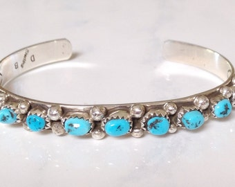 Native American Navajo Vintage Sterling Silver Turquoise Row Bracelet Signed D B