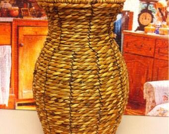 Vintage Wicker Vase / Jar / Basket