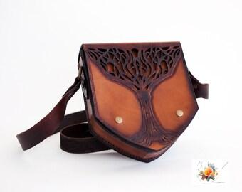 Tree Leather Bag, Leather Bag, Celtic Bag, Viking Bag