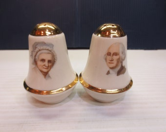 Antique Souvenir Salt & Pepper Shakers; Martha and George Washington 1949