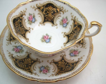 Black Paragon tea cup and saucer, Black and Gold Tea cup And Saucer, Gold filigree and flowers,