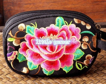 Handmade Embroidered Bag: Red Chinese Embroidered Bag, for Wristlet Bag,Purse,Wallet,Cellphone Bag,coin bag