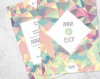 Geometric triangles wedding invitation SAMPLE