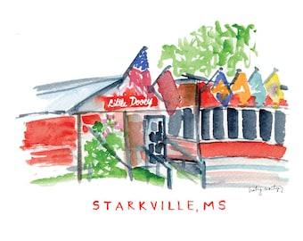 """Starkville Mississippi Restaurant Print -- Little Dooey 8 x 10"""""""