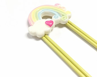 Rainbow and clouds bookmark, huge paper clip bookmark
