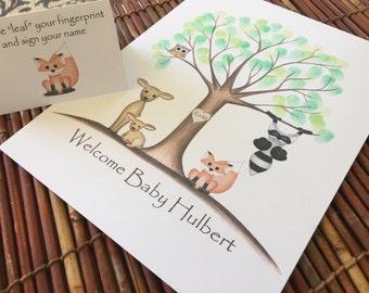 Customizable Thumb print tree guest book, Owl and deer Fingerprint tree guest book, woodland animals baby shower guest book finger print tre