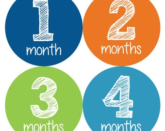 Baby Monthly Stickers, Monthly Baby Boy Stickers, Baby Month Milestone Stickers  - Baby Boy, Baby Shower Gift, Blue, Orange, Green