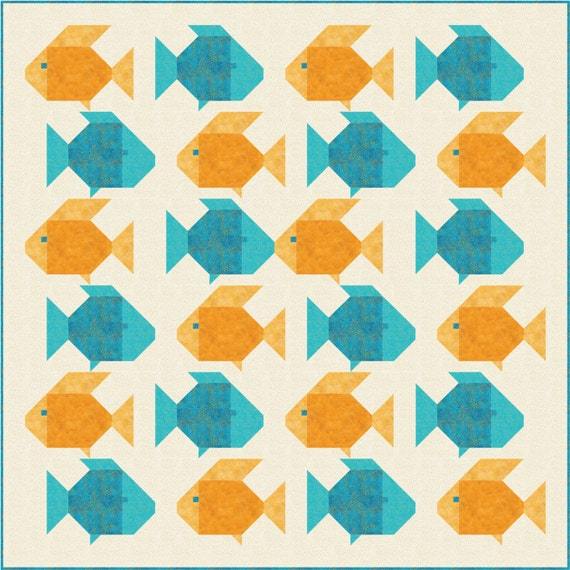 Kissy Fishy Quilt Pattern, PDF, Instant Download, modern patchwork, fish, pet, water
