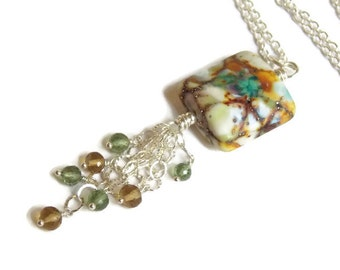 Green White Yellow Lampwork Cluster Necklace // Gemstone Necklace // Luxe Artisan Jewelry // Bohemian Style