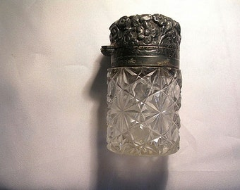 Antique Victorian Charles May Cut Glass &  Repousse Sterling Scent Bottle