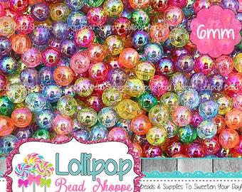 Transparent AB Acrylic Beads, 6mm Beads, Iridescent Bubblegum Beads, Round Acrylic Spacer Beads, Aurora Borealis Plastic Beads, Pkg 100 Mix