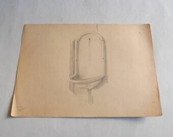 vintage original pencil drawing fountain