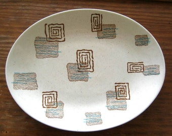 Vintage platter mid-century blue brown swirl squares pattern speckled background possibly Red Wing Franciscan or Metlox 1950s