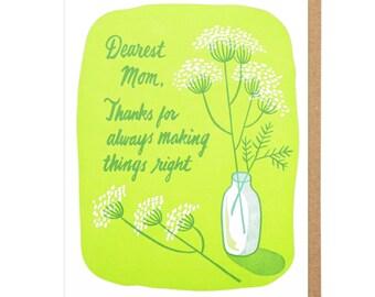 Dearest Mom Letterpress Card