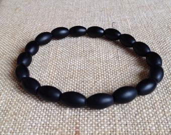 Custom Mens 8x12mm Matte Onyx stretch bracelet