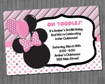 FLASH SALE 50% OFF Minnie Mouse Birthday Invitations