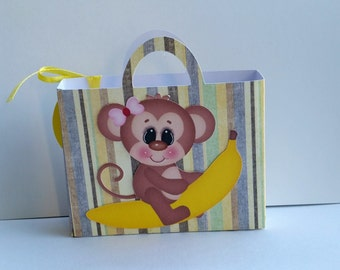 Birthday party favors, set of 10 party favors, favor bags set of 10, monkey favor bags, monkey party favor for baby shower