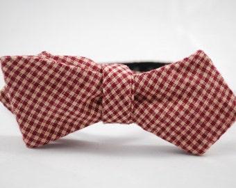 Crimson and Cream Microcheck Self Tie Bow Tie
