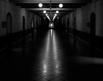 Black & White Photography - Darkened Hallway - fine art print wall photo home decor monochrome shadow dark perspective